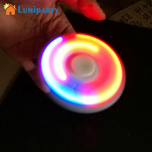 Lumiparty LED night Light Up Hand Finger Spinner Brass Fidget Toy EDC Focus Gyro Gift