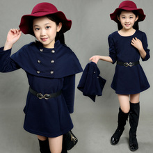 Fashion urban girls clothes capa caperucita roja double breasted dress winter fleece suit(China)