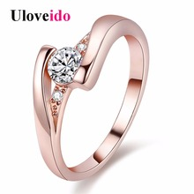 Uloveido Wedding Rings for Women Crystal Jewelry Silver Color/Rose Gold Color Engagement Ring Aneis Feminino Dropshipping J045