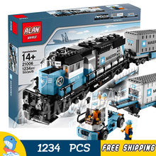 1234pcs Creator Maersk Trains Freight Cargo Locomotive 21006 Classical DIY Model Building Kit Blocks Toys Compatible With lego(China)