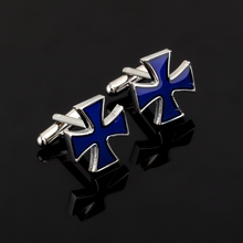 1 Pair Classical Fashion Blue Cross Cufflinks Men's Easter Day's Gift crucifix Cuff Links Fashion Religious Christian jewelry(China)