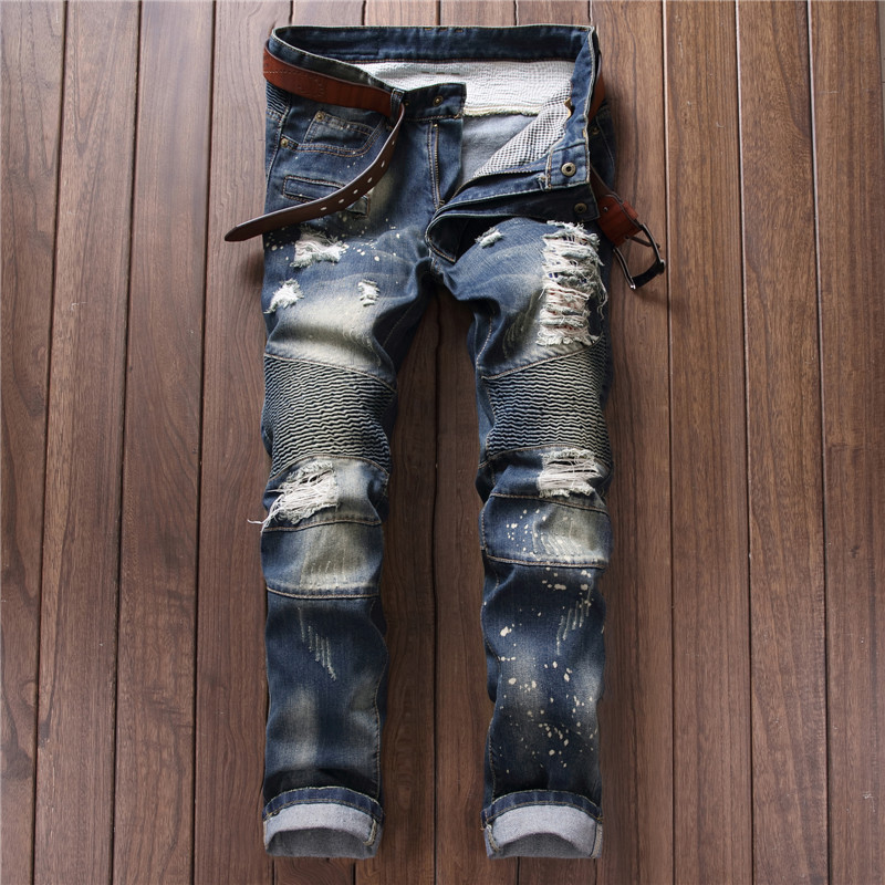 2017 Plus Size Men Jeans Fashion Trend Casual Ripped Jeans Cotton Skinny Slim Jeans Denim Pants Trousers Cowboys Young Man JeansÎäåæäà è àêñåññóàðû<br><br>