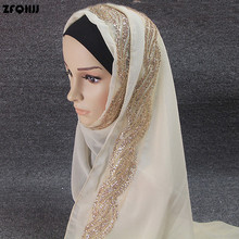 ZFQHJJ 2017 High Quality Plain Bubble Chiffon Shawls Muffler Headbands Popular Hijab Summer GLITTER Side Muslim Scarf Head Wraps(China)