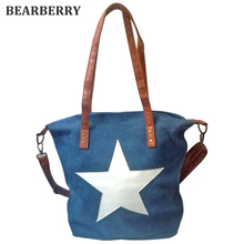 BEARBERRY 2017 high quality printed white star canvas shoulder bags Factory Outlet Plus Size Multifunctional Bolsos beach bags(China)