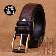 2016153 full grain leather made  MEN black ostrich  bridle buckle   jeans retro genuine cowhide Leather Belt