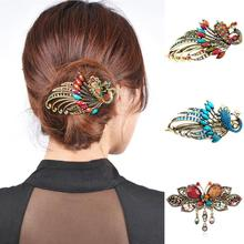 New Arrival Fashion Women's Retro Style Peacock Hairpin Rhinestone Hair Clip Alloy Hair Accessary drop shipping