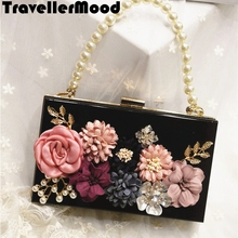 Women bag Acrylic handbag evening clutch bag with flowers pearl diamonds women messenger bagsTravellerMood