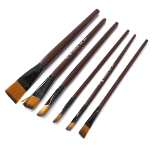 6pcs/lot Wholesale Price Newest Brown Tip Nylon Paint Brushes Set For Art Artist Supplies Accessory Fit For Painting(China)