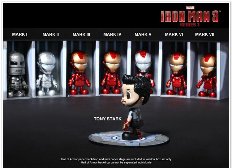 Free Shipping Hot Toys Marvel Iron Man 3 MK1-7 PVC Action Figures Toys set of 8 HRFG101<br>