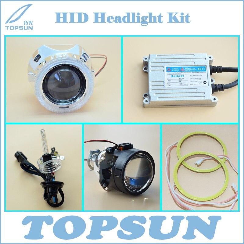 Car Light Kit 2.5 WST Projector Lens, Shroud, Top Brand TC 35W H1 HID Xenon Bulb, Ballast, Bright COB Angel Eyes<br><br>Aliexpress
