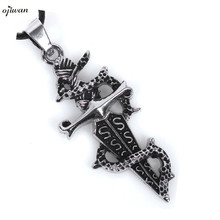 Stainless Steel Tribe Gothic Dragon Sword Necklace Men Accessaries Retro Men Necklace Hippie Chic Hip Hop Jewelry Boyfriend Gift(China)