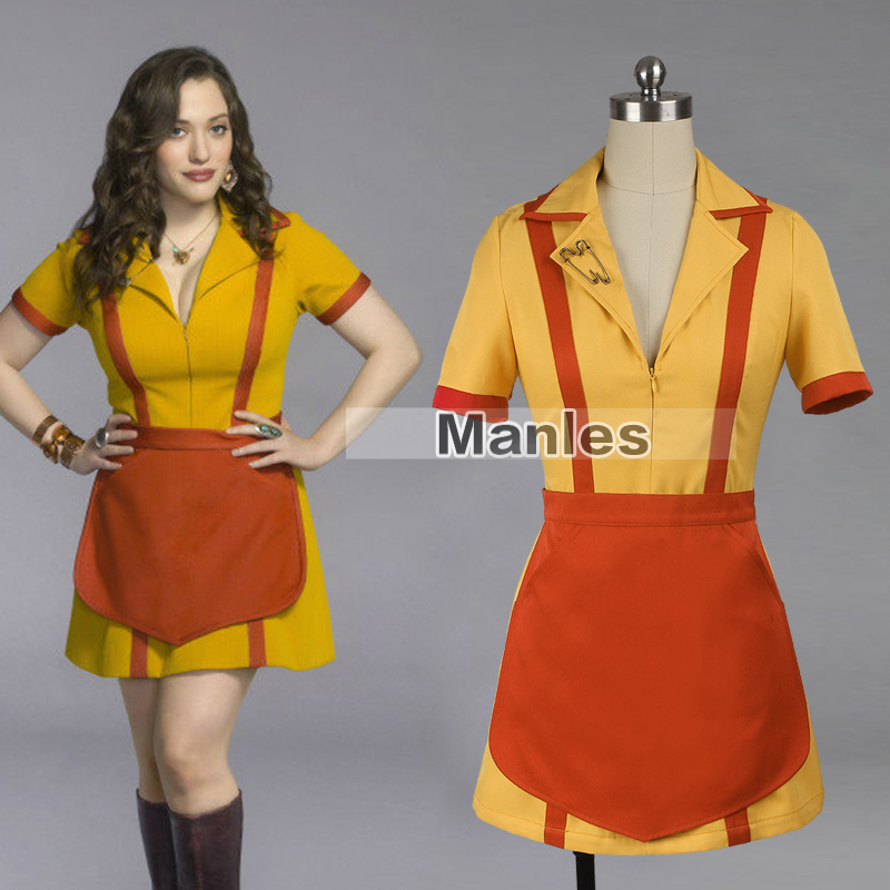 TV Show 2 Broke Girls Costume Max Black Costume Max Caroline Waitress Uniform Halloween Costume for Women Yellow Outfit
