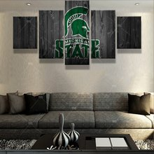 5 Pcs Michigan State Sports Logo Deco Fans Posters Oil Painting On Canvas Modern Home Pictures Prints Decor Living Room Bedroom