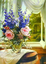 Picture to Oil Painting Window Flowers Painting Still Life Canvas Art for Kitchen Dining Room Hand Painted No Framed