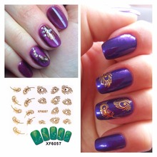 FWC 3D Nail Stickers Beauty Gold Design Brand Nail Art Charms Manicure Bronzing Decals Decorations Tools, 31 Styles For Choose(China)