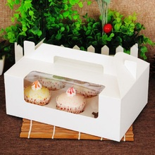 6 Holes Handheld Muffin Cake Boxes Biscuits Cupcakes Boxes for Wedding Festive and Party Christmas Gift Box with Window