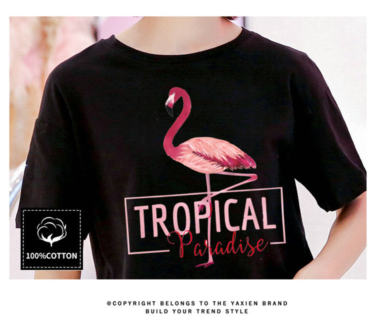 2018 Fashion Women T-shirt Summer Flamingos Tops Tees Ladies Tshirt Tropical Leer T-shirt Female Short Sleeve Poleras Mujer  (15)