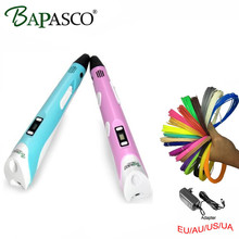 BAPASCO 3d Pen 2nd Gen. 3D Magic Pen LED Temperature Display Screen Add Free ABS/PLA Filament Kids' Best DIY Gift Freeshipping