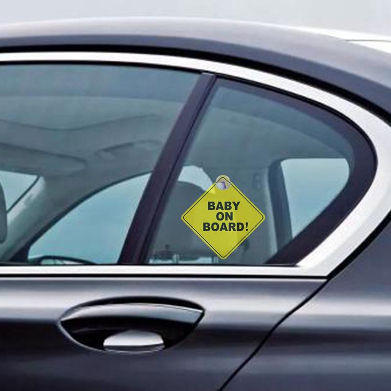 2 Bébé à Bord Voiture Fenêtre Signe Avec Ventouse Enfant Adulte Signal De Sécurité Avertissement