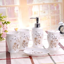 Bathroom set 5pieces ceramic bathroom set lotion bottle toothbrush cup shukoubei soap dish