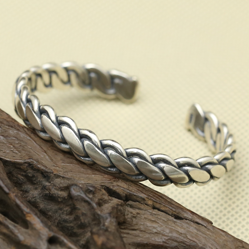 Solid Silver 925 Weave Band Cuff Bangle & Bracelet Men Women Vintage Simple Style 925 Sterling Silver Jewelry Thai Silver Men