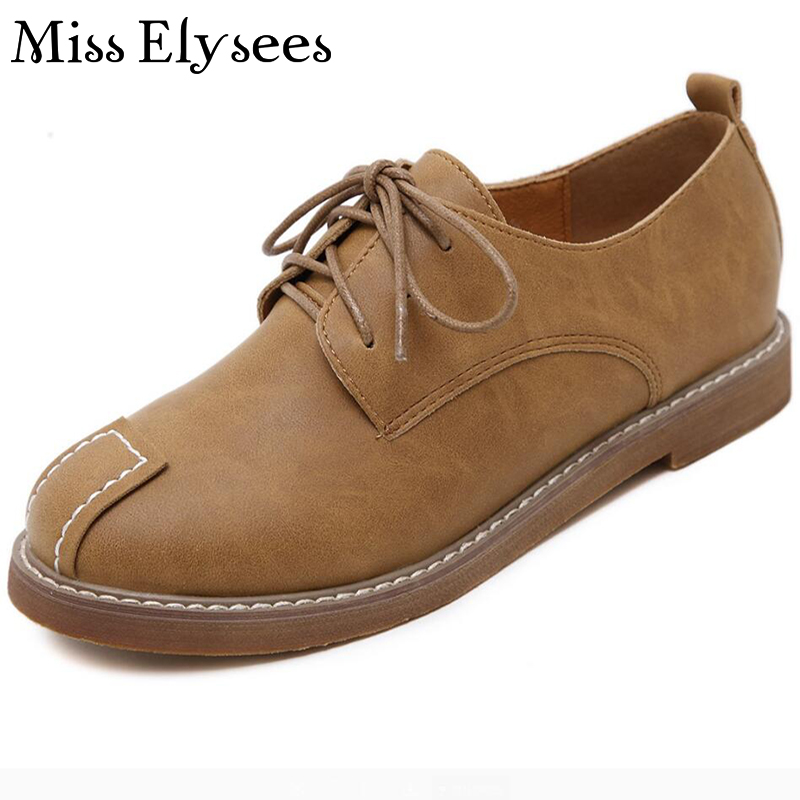 Designer Round Toe Womens Flat Shoes Lace Up Platform Flats Retro Oxfords Woman 2017 New Spring Summer Footwear Dame Schuhe<br><br>Aliexpress
