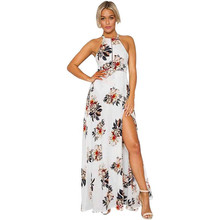 Womens Sexy Long Dresses Summer Ladies Flower Printed Sleeveless V Neck Backless Cut Out Split Shift Maxi Dress #17
