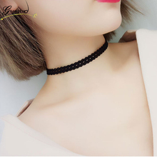 2017 Fashion Sexy Black Elastic Lace Chokers Necklace For Women Jewelry Punk Gothic Harajuku Female Clavicle Necklaces Collares