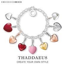 Love All Around Pink Heart Charm Pendant With Lobster Clasp Fit Thomas Bracelet Pendant 925 Sterling Silver Jewelry