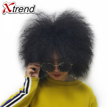 Xtrend 6inch 100g Short Synthetic Fluffy Wig Kinky Curly Hairstyle For African Black Women Wig Adjustable HighTemperature Fiber(China)