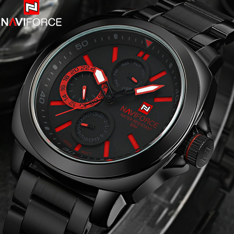 2017 New NAVIFORCE fashion brand sport watches men climbing Japan quartz movement auto date Wristwatches stainless steel band<br><br>Aliexpress
