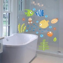 Imixlot Lovely Tropical Cartoon Fish Sea Bubble Ocean World Removable Wall Decortaion Decal Washroom Baby Room Decor(China)