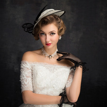 Women Chic Sinamay Fascinator Hat Cocktail Wedding Party Church Headpiece Fashion Headwear Formal Feather Hair Accessories(China)