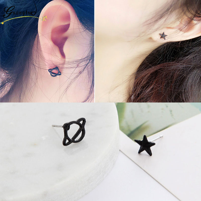 New Fashion Punk Retro Diablo Hollow Black Planet Star Saturn Stud Earrings For Women Jewelry Bijoux Brincos Lady Girl Gift(China)