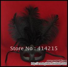 Free Shipping High quality All Black Halloween Mask Feather Carnival Mask Wholesale Hot Design(China)