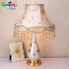 European Palace Style Night lamp Hand Painted Gold Flower Desk Lamp Hardware Lamp Post and Cloth Cover Bedside Light Hotel Lamp(China)