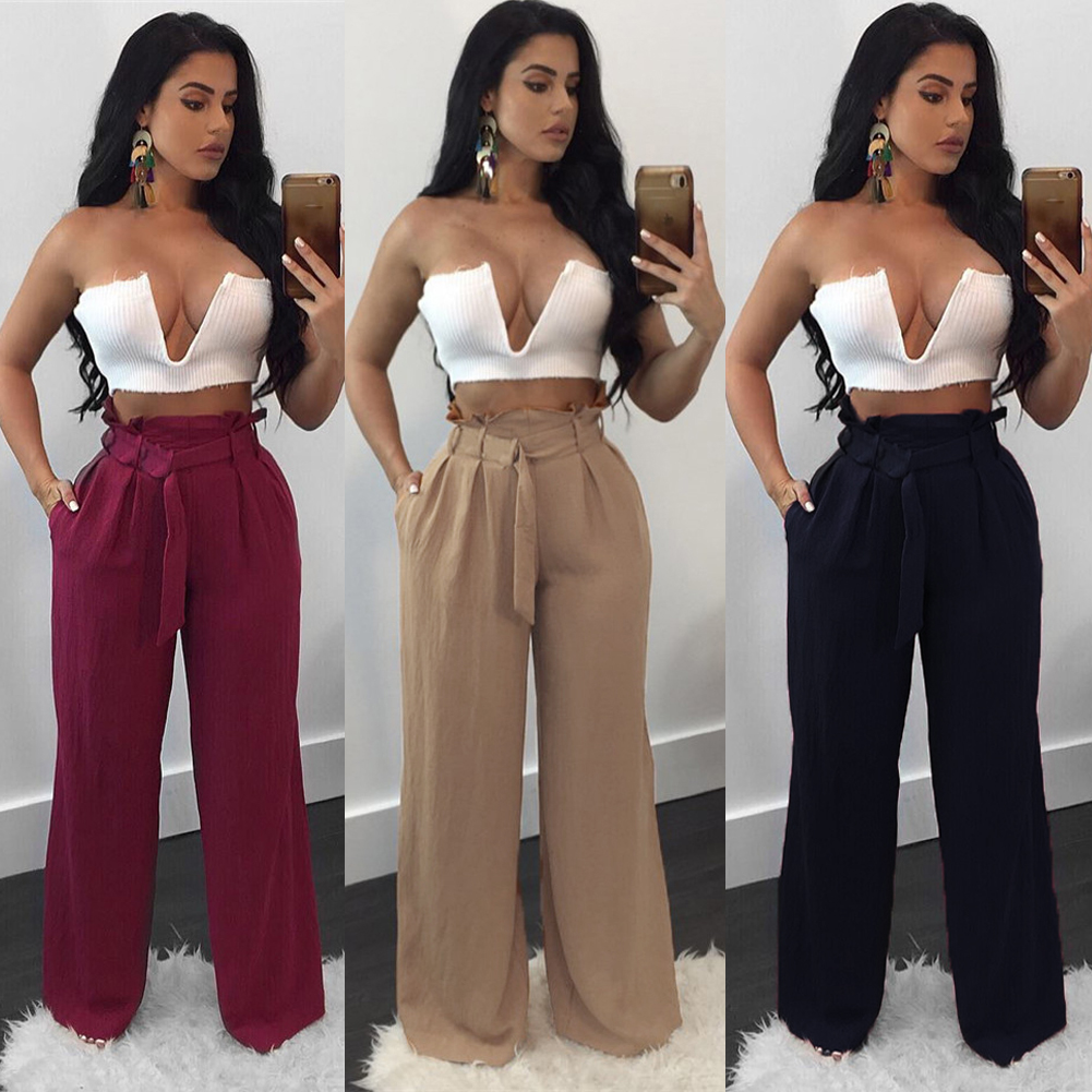 Womens Elegant Pure Color Bowknot Palazzo Wide Leg High Waist Lace Up Loose Culottes Pants