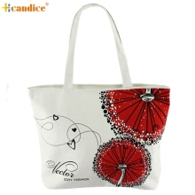 Naivety 2016 New Canvas Red Dandelion Pattern Lady Shopping Shoulder Handbag Woman Tote Bag JUL13 drop shipping