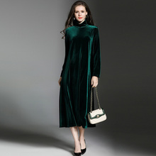 winter high necked long sleeved Mid Calf Velour dark green black large size maternity dresses cheap maternity photography props(China)