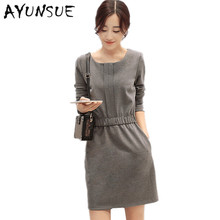 Dress Big Sizes Women Autumn Dresses 2017 Long Sleeve O-Neck Gray And Light Tan Color Office Dress Mini Vestidos AW0218