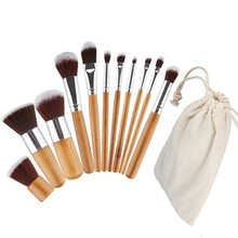Wholesale Excellent 11pcs Makeup Brush Natural Bamboo Handle Foundation Eyeshadow Blush Cosmetic Makeup Brush With Pouch 100sets