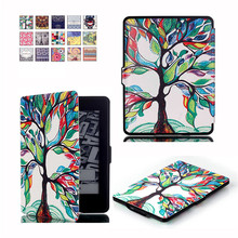 Tempered Glass Screen Protector Film + Print PU Leather Case Smart Cover for Amazon Kindle Paperwhite (1/2/3) Version Ebook