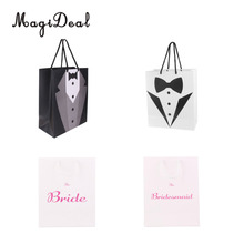 MagiDeal Large Bride Bridemaid Tuxedo Wedding Party Paper Gift Favor Carry Bags with Handle Candy Bag(China)
