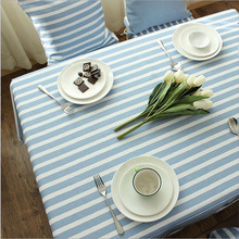 Hot Japanese Style Linen Cotton Striped Table Cloth Oversize 140*220cm Party Tablecloth Dustproof Coffee Table Cover Oil Cloths