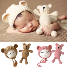 Newborn Photography Props Accessories Bear Hat Cap + Doll Sets Infant Bebe Soft Bonnet Handmade Knitted Beanie Bear Toy(China)