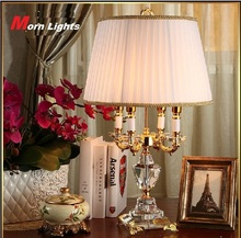 Modern Crystal Lamp lighting bedroom bedside lamp luxury fashion crystal table lamp Abajur(China)