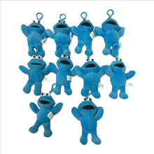 10PCS/LOT Sesame Street  Cookie Monster 12.5CM Stuffed Plush Toys Dolls With Keychain Soft Dolls