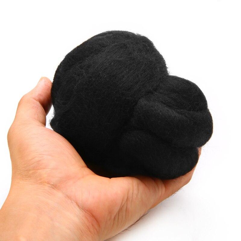 1pc Black Wool Fiber Merino Dyed Wool Tops Roving Felting Wool Fiber 50g For Needle Felting DIY Crafts Home Party Decoration