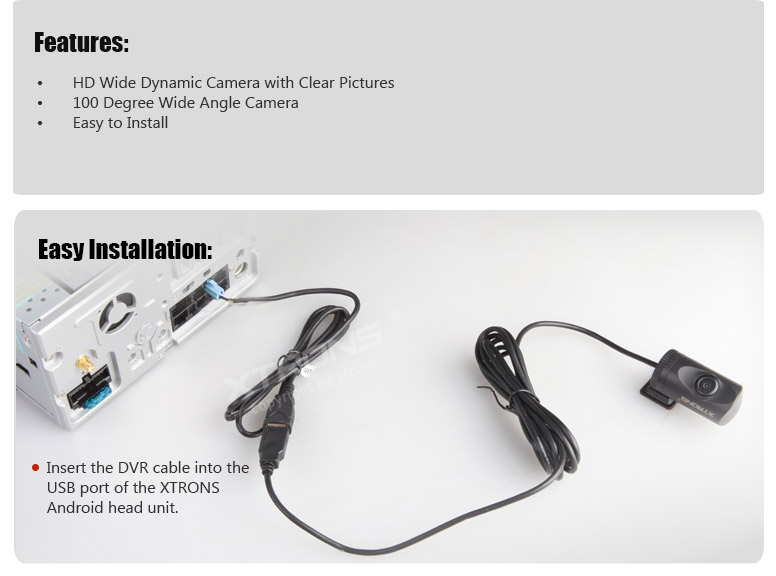 XTRONS Android Units DVR Camera DVR015