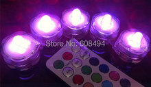 10pcs/lot LED submersible floralytes Remote controlled floral tea Light Candle w/timer controller RGB color-change Wedding Xmas(China)